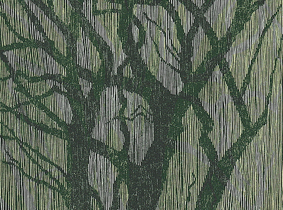 Courtenay - detail, Blue Gums ll, woodcut.